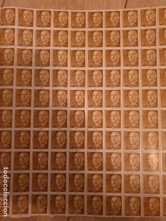 Sellos: 15 HOJAS 100 DE SELLOS DE 15 CTS DEL GENERAL FRANCO ESPAÑA 1955-1956 - Foto 3 - 216905355
