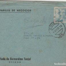 Sellos: LOTE X-CARTA SOBRE COMERCIAL OVIEDO MATA SELLOS FACTURAS PAGARE 1952. Lote 190868748
