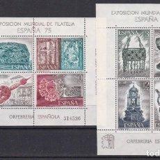 Francobolli: 1975. ORFEBRERÍA ESPAÑOLA ESPAÑA´75 HOJAS BLOQUE NUEVAS SIN FIJASELLOS ED. 2252/2253. Lote 191418597