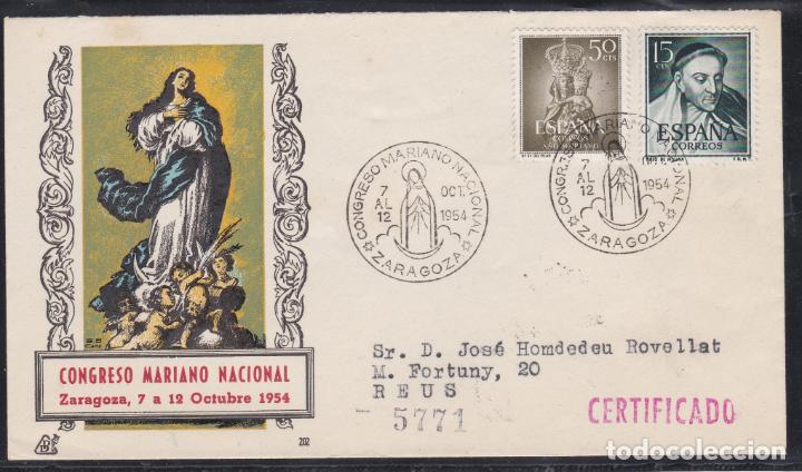 ESPAÑA.- SOBRE ILUSTRADO CON MATASELLOS CONMEMORATIVO CONGRESO MARIANO DE ZARAGOZA 1954 (Sellos - España - II Centenario De 1.950 a 1.975 - Cartas)