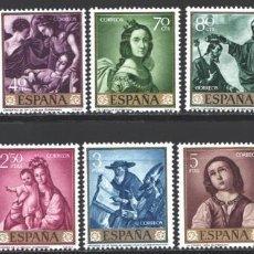 Sellos: ESPAÑA, 1962 EDIFIL Nº 1418 / 1427 /**/, FRANCISCO DE ZURBARÁN, SIN FIJASELLOS . Lote 193973378