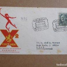 Sellos: ZARAGOZA 1950 FERIA DE MUESTRAS CIRCULADA A OLOT GIRONA. Lote 193982031