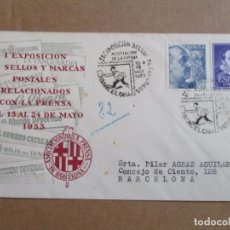 Sellos: BARCELONA 1953 EXPO SELLOS PERIODICOS CIRCULADA A BARNA. Lote 193982055