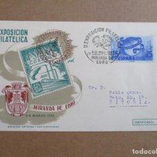 Sellos: MIRANDA DE EBRO SORIA 1952 EXPOSICION FILATELICA CIRCULADA A VITORIA. Lote 193982546