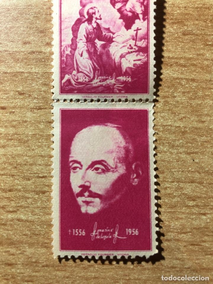 10 VIÑETAS SELLOS IGNACIO DE LOYOLA. HERACLIO FOURNIER VITORIA.ROJOS. 1956 (Sellos - España - II Centenario De 1.950 a 1.975 - Nuevos)