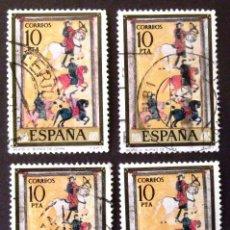 Sellos: 2290, CUATRO SELLOS USADOS CON MATASELLOS DE LÉRIDA, RUBÍ, ZARAGOZA Y BARCELONA. CÓDICES.. Lote 194611880