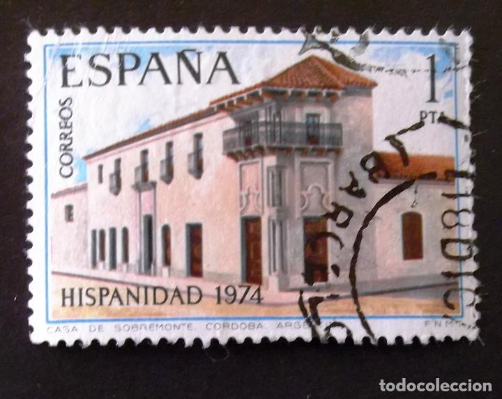 2213, SELLO USADO CON MATASELLO BARCELONA. ARGENTINA. (Sellos - España - II Centenario De 1.950 a 1.975 - Usados)