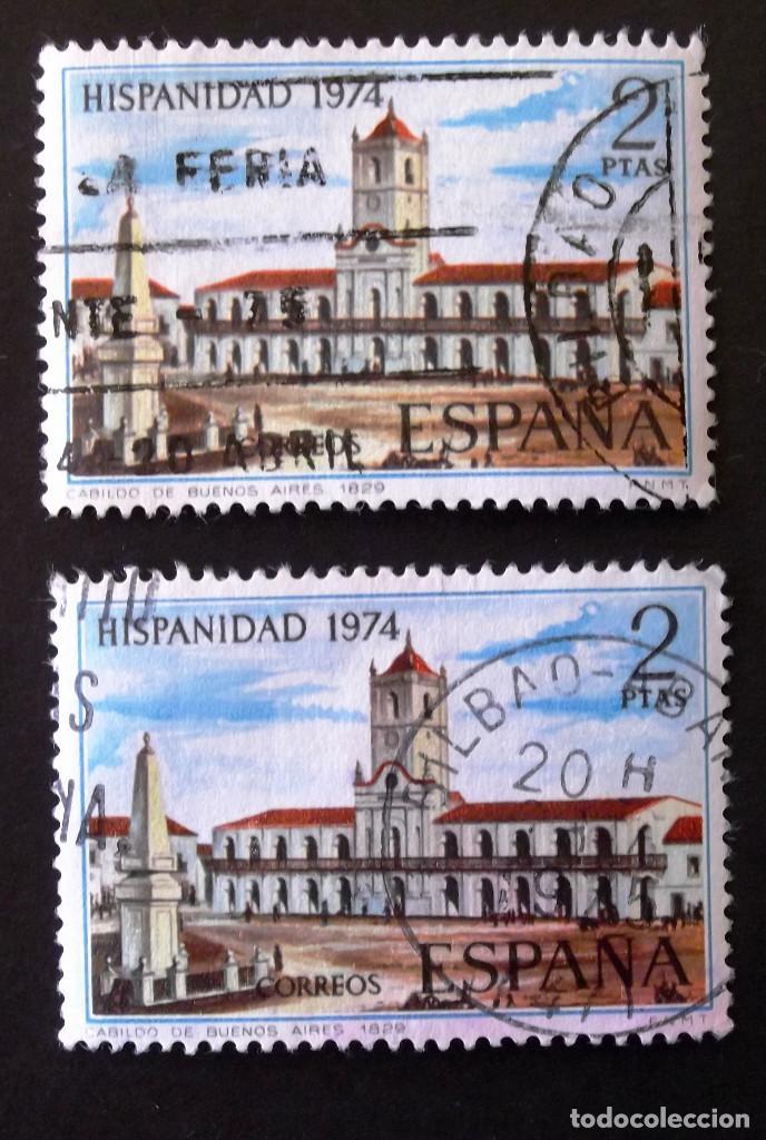 2214, DOS SELLOS USADOS CON MATASELLO BILBAO. ARGENTINA. (Sellos - España - II Centenario De 1.950 a 1.975 - Usados)