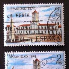 Sellos: 2214, DOS SELLOS USADOS CON MATASELLO BILBAO. ARGENTINA.. Lote 194872653