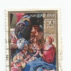 Sellos: LOTE DE 37 SELLOS USADOS DE 1969- SERIE DE NAVIDAD-EDIFIL 1944 Y 1945- VARIEDAD. Lote 194876122
