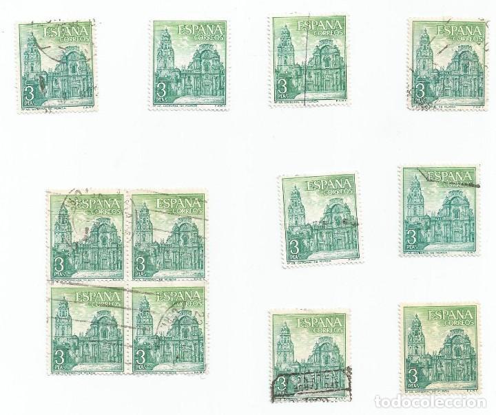 Sellos: LOTE DE 12 SELLOS USADOS DE 1969- SERIE PAISAJES Y MONUMENTOS- EDIFIL 1936- Nº 43 CATEDRAL DE MURCIA - Foto 3 - 194879148