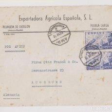 Sellos: SOBRE. VILLANUEVA DE CASTELLÓN. PUEBLA LARGA. VALENCIA. AÉREO. AMBULANTE. A ALEMANIA. 1952. Lote 194962816