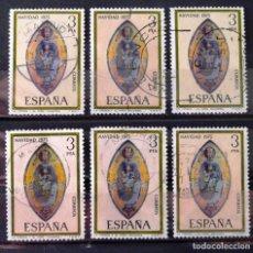 Sellos: 2300, SEIS SELLOS USADOS CON MATASELLOS: VICH, ZARAGOZA, VALENCIA Y MADRID. NAVIDAD.. Lote 195002840