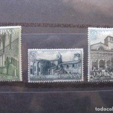 Sellos: +1964 MONASTERIO DE SANTA MARIA DE HUERTA, EDIFIL 1563/65. Lote 195472370