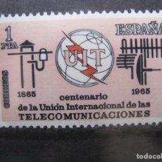Sellos: +1965, CENT. UNION INTERNACIONAL DE TELECOMUNICACIONES, EDIFIL 1670. Lote 195499640