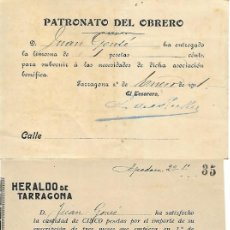 Sellos: TARRAGONA - AÑOS 1900 - ESTABLECIMIENTOS HISTORICOS - VER FOTO - 3 RECIBOS. Lote 196906150