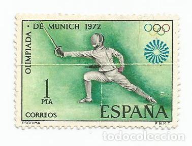 SELLO USADO DE 1972- SERIE JUEGOS OLIMPICOS DE MUNICH- ESGRIMA EDIFIL 2098 (Sellos - España - II Centenario De 1.950 a 1.975 - Usados)