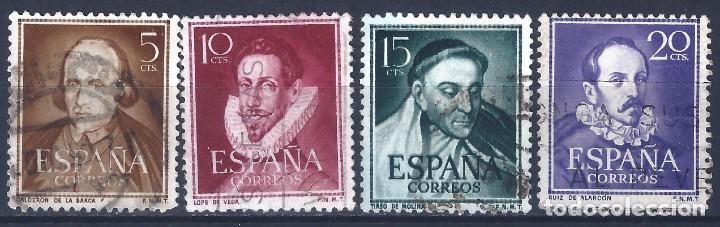 EDIFIL 1071-1074 LITERATOS 1950-1953 (SERIE COMPLETA). (Sellos - España - II Centenario De 1.950 a 1.975 - Usados)