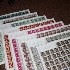 Sellos: LOTE DE 800 SELLOS EN PLIEGOS DE 100 SERIE FORTUNY Y NAVIDAD 1967.. Lote 198351371