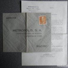 Sellos: SOBRE COMERCIAL SEGUROS METROPOLIS CON CARTA EDIFIL 1144. Lote 198503801