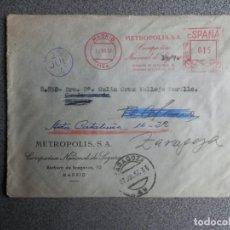 Sellos: SOBRE FRANQUEO RODILLO METROPOLIS COMPAÑÍA DE SEGUROS AÑO 1957 MADRID ZARAGOZA. Lote 198504103