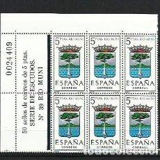 Sellos: ESPAÑA 1965 - ESCUDOS - BLOQUE DE 6 CON LINDE NUMERADO - EDIFIL 1633 RIO MUNI. Lote 198586067