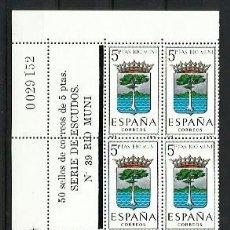 Sellos: ESPAÑA 1965 - ESCUDOS - BLOQUE DE 10 CON LINDE NUMERADO - EDIFIL 1633 RIO MUNI. Lote 198586075