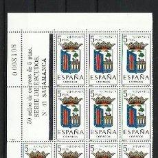 Sellos: ESPAÑA 1965 - ESCUDOS - BLOQUE DE 14 CON LINDE NUMERADO - EDIFIL 1635 SALAMANCA. Lote 198586223