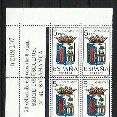 Sellos: ESPAÑA 1965 - ESCUDOS - BLOQUE DE 10 CON LINDE NUMERADO - EDIFIL 1635 SALAMANCA. Lote 198586243