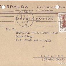 Sellos: GARRALDA - ARTICULOS DENTALES - TARJETA POSTAL CIRCULADA 1955. Lote 199728687