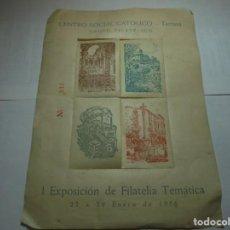 Sellos: MAGNIFICOS 4 SELLOS ANTIGUOS CENTRO SOCIAL CATOLICO DE TARRASA I EXPOSICION TEMATICA 1956. Lote 200584972