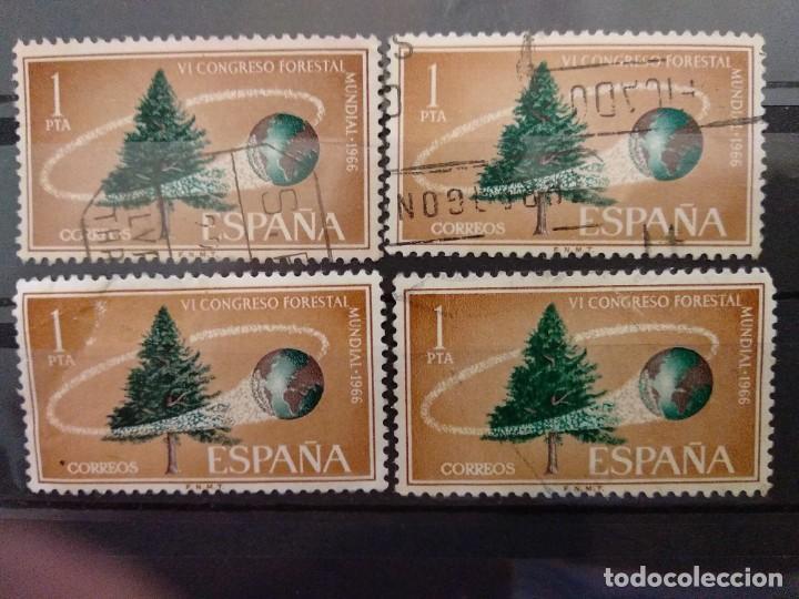 AÑO 1966 CONGRESO FORESTAL MUNDIAL SE VENDE 4 SELLOS EN USADOS EDIFIL 1736 (Sellos - España - II Centenario De 1.950 a 1.975 - Usados)