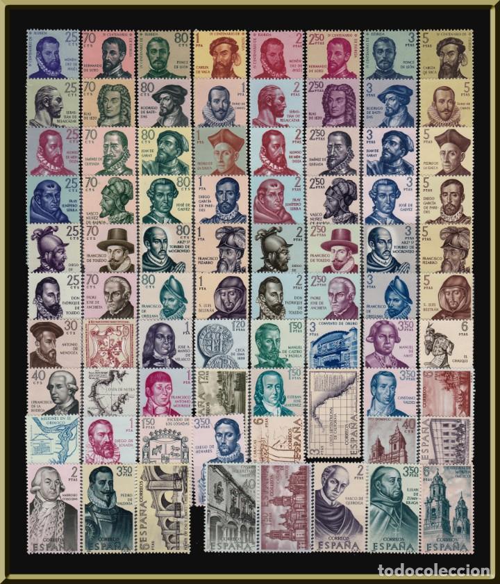 FORJADORES DE AMÉRICA. COLECCIÓN COMPLETA. 11 SERIES, 79 SELLOS. LUJO. SELLOS NUEVOS, SIN CHARNELA. (Sellos - España - II Centenario De 1.950 a 1.975 - Nuevos)