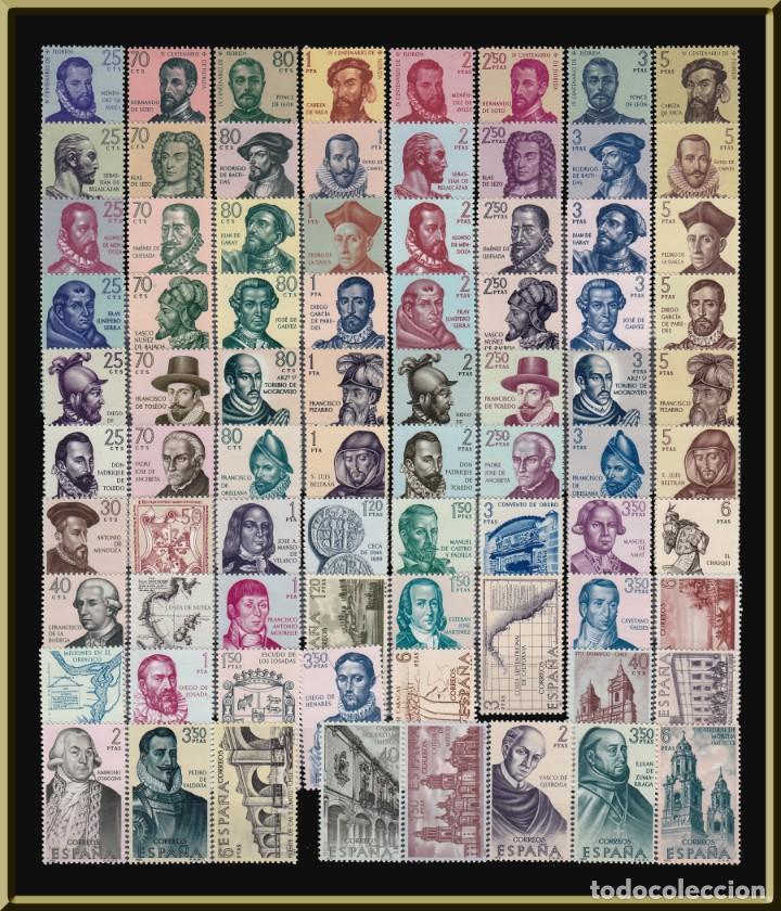 Sellos: Forjadores de América. Colección completa. 11 series, 79 sellos. LUJO. Sellos nuevos, sin charnela. - Foto 2 - 276957203