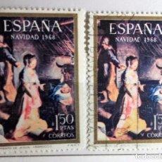Sellos: ESPAÑA 1968, 2 SELLOS USADOS, NAVIDAD. Lote 202976968