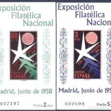 Sellos: EDIFIL 1222-1223 EXP. FILATÉLICA NACIONAL 1958 (SERIE COMPLETA). VALOR CATÁLOGO: 84 €. MNH **. Lote 203640336