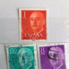 Sellos: ESPAÑA LOTE DE 3 SELLOS SERIE BÁSICA DE FRANCO USADOS. Lote 204184341