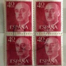 Sellos: ESPAÑA AÑO 1955 BLOQUE DE 4, USADO - GENERAL FRANCO - 40 CTS. Lote 204186450