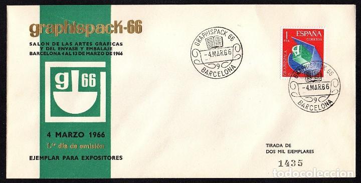 SOBRE PRIMER DIA GRAPHISPACK-66 EJEMPLAR PARA EXPOSITORES (Sellos - España - II Centenario De 1.950 a 1.975 - Cartas)