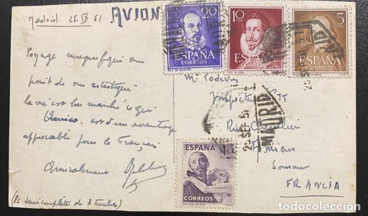 ESPAÑA: TARJETA POSTAL AÑO 1951 (Sellos - España - II Centenario De 1.950 a 1.975 - Cartas)