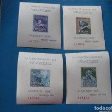 Sellos: +1961, HOJITAS SIN DENTAR III CENT.MUERTE DE VELAZQUEZ, EDIFIL 1344/47. Lote 206168216
