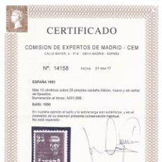 Sellos: A03 EDIFIL Nº 1090 ** CERTIFICADO CEM 21-11-2017, DOBLE MARQUILLA SORO - SIN SEÑAL DE FIJASELLO. Lote 206346996