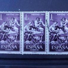 Sellos: BLOQUE DE 3 EDIFIL 1400 EN USADO ESPAÑA 1961. Lote 207660397