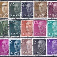 Sellos: EDIFIL 1143-1163 GENERAL FRANCO 1955-1956 (SERIE COMPLETA). INTERESANTES MATASELLOS.. Lote 208363116