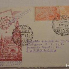 Sellos: ANTIGUO SOBRE.FERIA LIBRO ESPAÑOL 1953.COMPAÑIA ANONIMA PRODUCTOS AFRICANOS C.A.P.A.BARCELONA. Lote 209318036