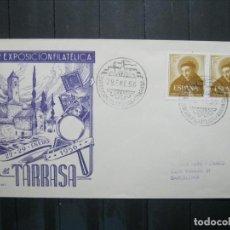 Sellos: ESPAÑA 1956 SOBRE - MATASELLO ESPECIAL. 1ª EXPOSICIÓN FILATÉLICA. TARRASA 29.ENE.56!!!. Lote 210186237