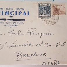 Sellos: CARTA CON SELLO ANDORRA ST JULIA DE LOIRA A BARCELONA 1957. Lote 210189831