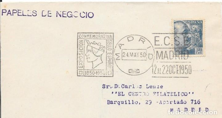 RODILLO CONMEMORATIVO DE LA EXPOSICION DEL CENTENARIO DEL SELLO. INTERIOR MADRID. 1950 (Sellos - España - II Centenario De 1.950 a 1.975 - Cartas)