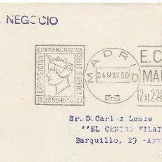Sellos: RODILLO CONMEMORATIVO DE LA EXPOSICION DEL CENTENARIO DEL SELLO. INTERIOR MADRID. 1950. Lote 210474330