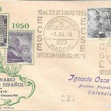 Sellos: SOBRE CONMEMORATIVO DE LA EXPOSICION DEL CENTENARIO DEL SELLO. MADRID A VALENCIA. 1950. Lote 210474636